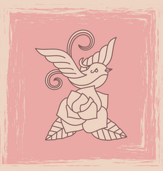 vintage bird with rose silhouette vector image