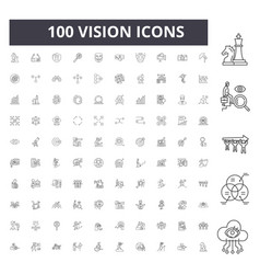 Vision line icons signs set outline vector
