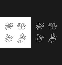 Washing hands instruction linear icons set for vector
