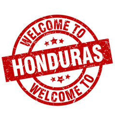 welcome to honduras red stamp vector image