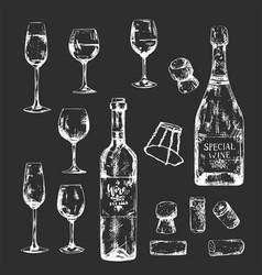 white on dark hand-drawn bottles and glasses set vector image
