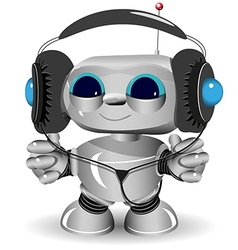 White robot headphones vector image
