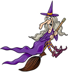Witch on broom cartoon vector