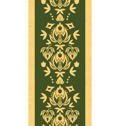 Wooden floral damask vertical seamless pattern vector image