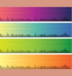 Yangon multiple color gradient skyline banner vector
