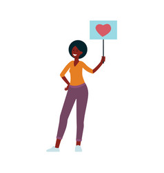 young smiling african woman holding banner with vector image