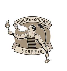 Zodiac circus emblem fire eater man blowing fire vector