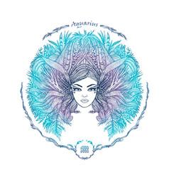 Zodiac sign portrait a woman aquarius vector