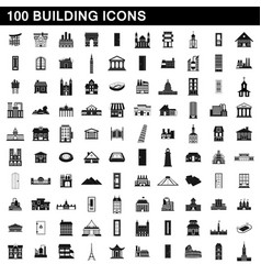 100 building icons set simple style vector image vector image