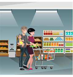 family shopping with cart vector image vector image