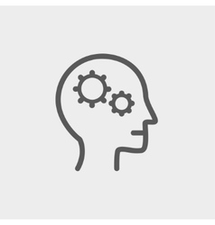 Human head with gear thin line icon vector image
