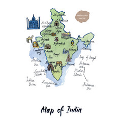 map of india watercolor vector image vector image