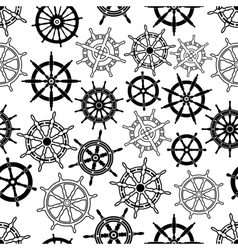 Nautical navigation ships helms seamless pattern vector image
