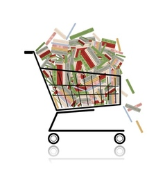 Pile of books in shopping cart for your design vector image