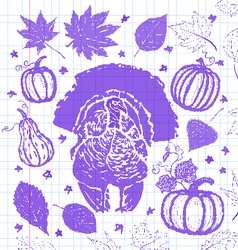 Thanksgiving day objects collection vector image vector image