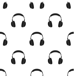 vintage headphones icon in black style isolated on vector image vector image