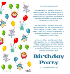 birthday party poster or invitation with cute vector image vector image