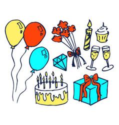 birthday set of hand drawn vector image