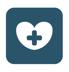 button of heart with a cross icon vector image