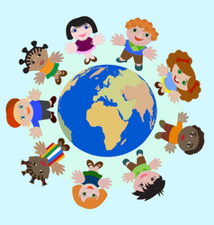 Concept Children of different nations Dream of Pea vector image