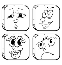 Doodle designs of faces in a cube vector image