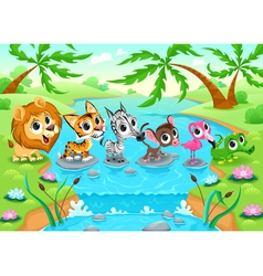 Funny animals in the jungle vector image vector image