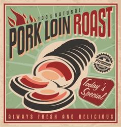 Pork loin roast retro poster design template vector