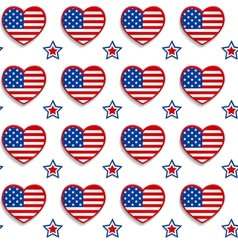 American seamless pattern with hearts and stars vector image