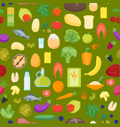 cartoon color healthy food background pattern on a vector image