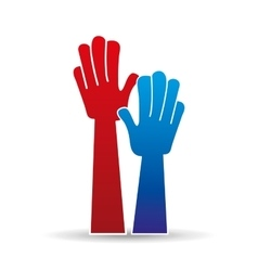 Hands raised hands up sign icon vector