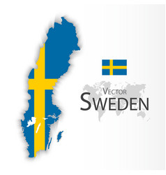 kingdom of sweden flag and map vector image vector image