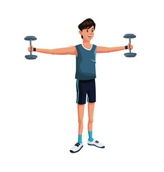 man sports barbell training vector image vector image