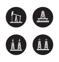 Oil drilling black icons set vector image
