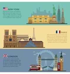 Set of Travel Banners - New York Paris London vector image