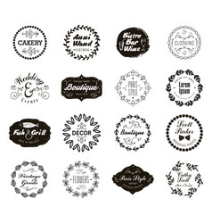 set of various small business badges with vector image