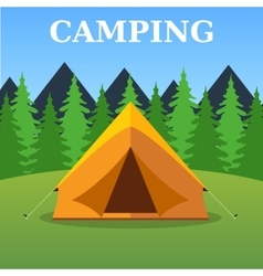 Camping tourist tent on forest landscape vector image vector image