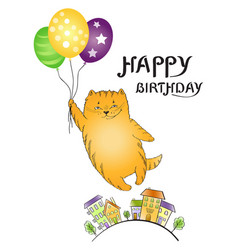 greeting card with flying red cat with balloons an vector image vector image