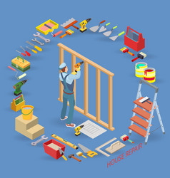 home repair isometric template carpenter builds a vector image