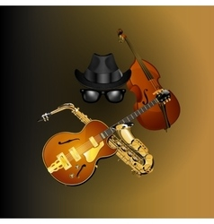 objects blues hat glasses and musical instruments vector image