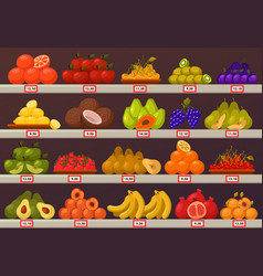 Stall or stand with fruits and prices vector