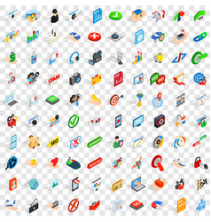 100 security icons set isometric 3d style vector