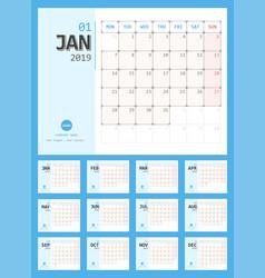 2019 calendar simple planner design vector image