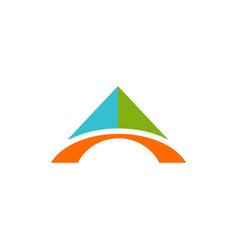 Abstract technology bridge triangle color logo vector