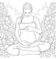 Adult coloring bookpage a pregnant woman vector