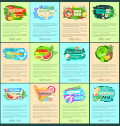 Advertisement leaflets set discount promo posters vector