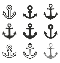 Anchor icon set vector