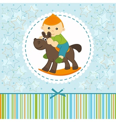 baby boy riding on the horse vector image