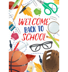 back to school supplies and education items poster vector image