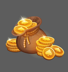 Bag of gold coins icon vector