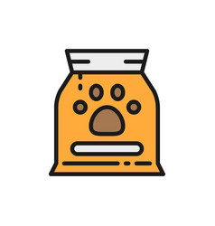 bag with animal food flat color icon vector image